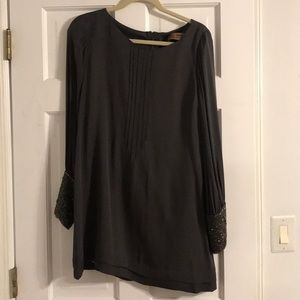 Gray long sleeve chiffon dress